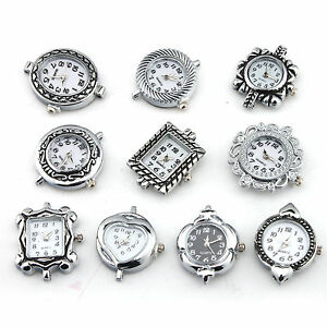Wholesale Mixed 10pcs Silver Plated Quartz Watch Face For Beading