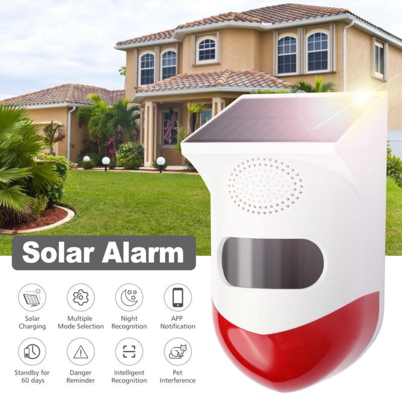 WiFi Solar Security Alarm 120DB Sound Light Motion Detector System APP Control