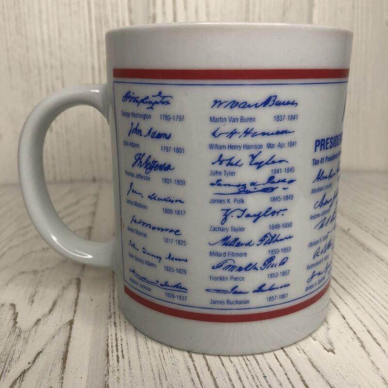 41 Presidential Signatures Coffee Cup Mug 1995 Raffoler LTD Red White Blue
