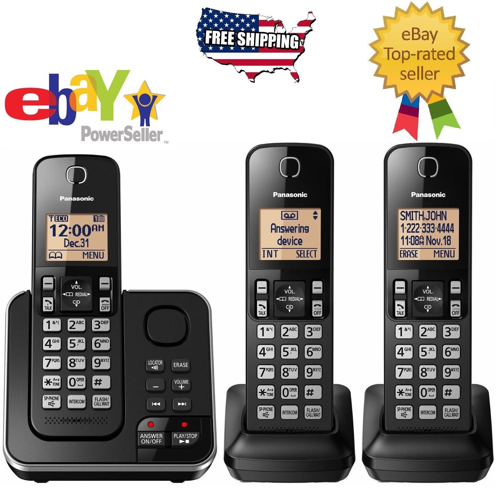 Panasonic DECT 6.0 3-Handset Digital Cordless Phone Home Telephone