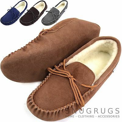 SNUGRUGS Mens Genuine Suede Moccasin Sheepskin Slippers Soft Suede Sole ()