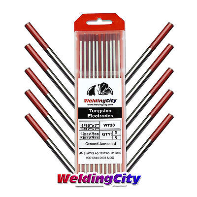 10-pk Tig Welding Tungsten Electrode 2 Thoriated Red .040-116 Us Seller
