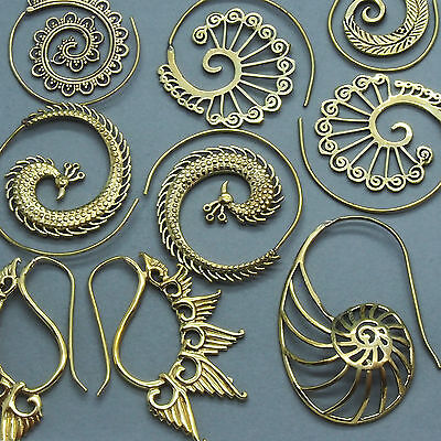 TRIBAL BRASS EARRINGS Spiral Hook Gypsy Boho Ethnic Festival Jewellery