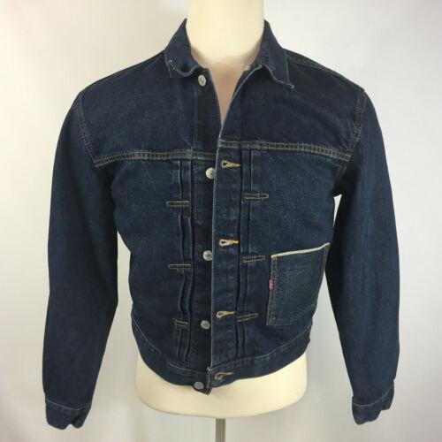 Vintage 90s Pleated Levis Denim Coat Jean Jacket Red Tab Small Mens Selvedged