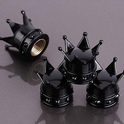 4 Pcs Bike Car Motorbike Wheel Tyre Air Valve Dust Caps Covers Crown Black