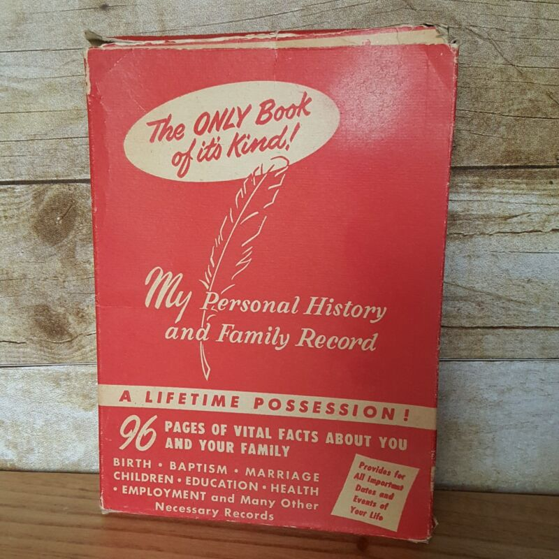 Vintage 1950s Baby Book Family Tree History Personal Record Book Unused in Box
