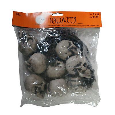 Halloween : 6' Plastic Skull Foam Garland (8 pieces) - decoration - decor -