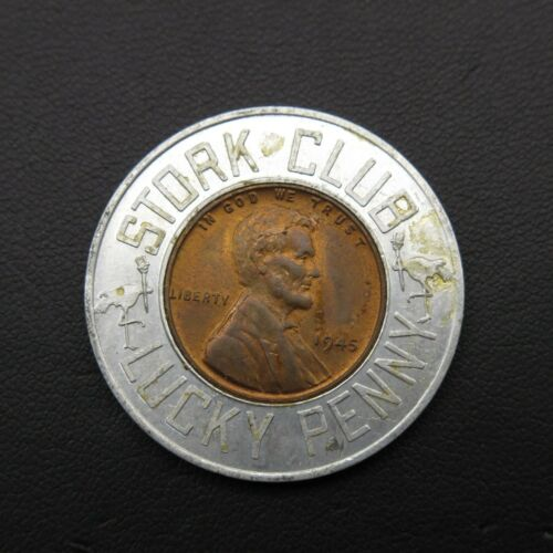 1945 Stork Club NY Nightclub Vintage Lucky Wheat Penny Encased Good Luck Charm