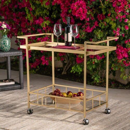 Fern Outdoor Gold Finish Iron and Glass Bar Cart Bar Carts & Serving Carts