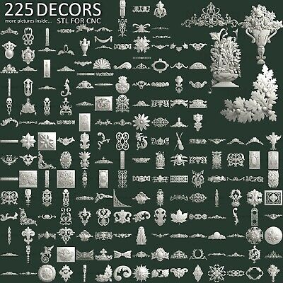 3d Stl Model Cnc Router Artcam Aspire 225 Pcs Decor Collection Pack