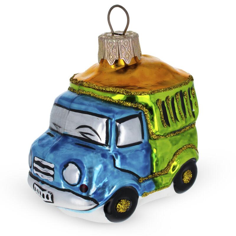 Dump Truck Glass Christmas Ornament