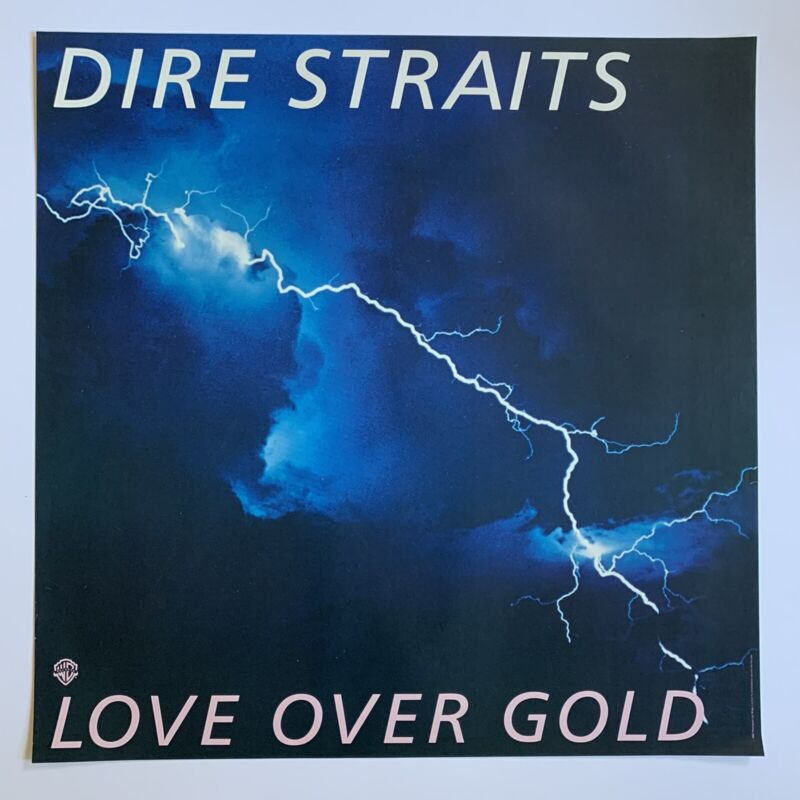 "Original 1982 Dire Straits Love Over Gold Promotional Rock Poster 23"" x 23"" EX"