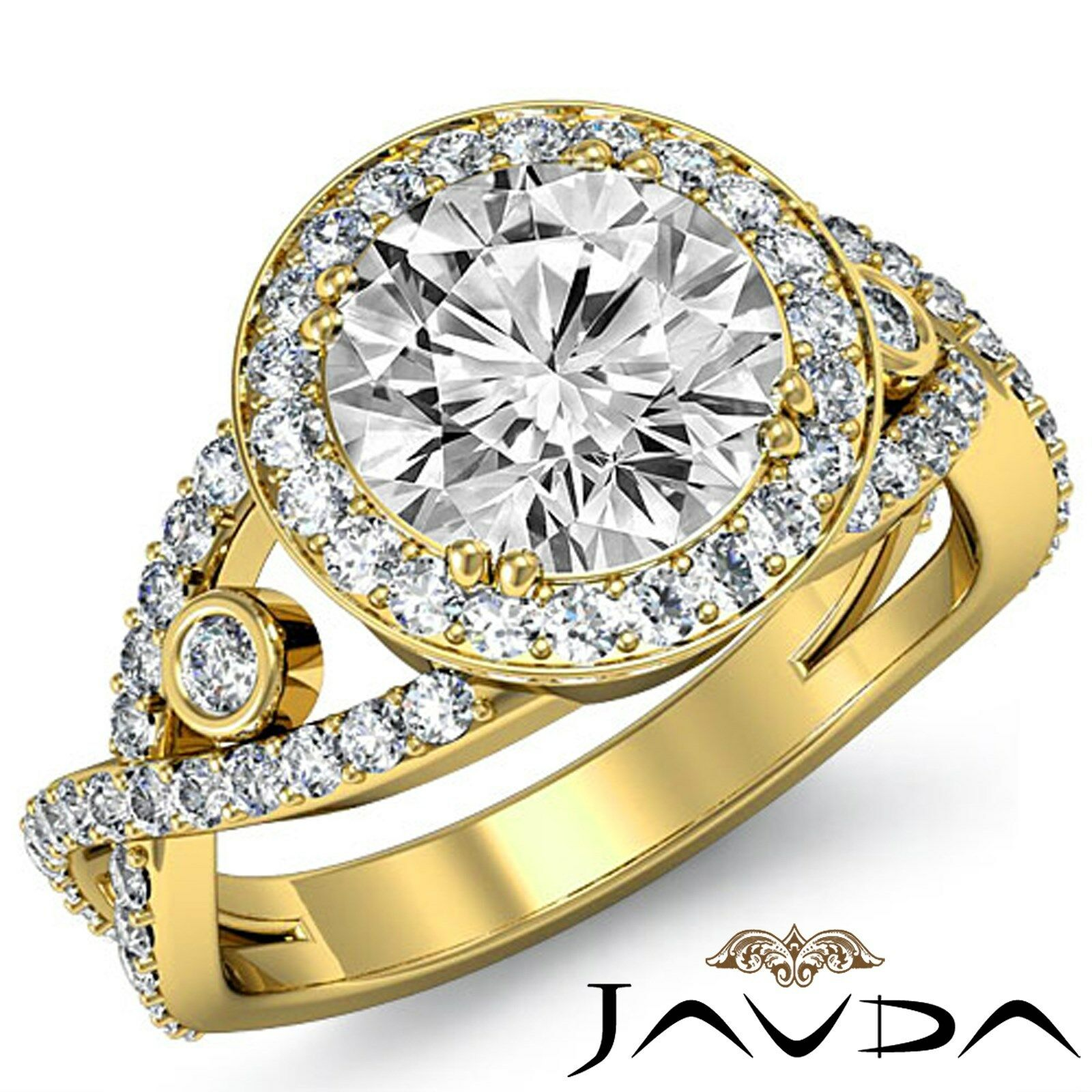 Cross Split Shank Round Diamond Engagement Ring GIA F VS2 18k Yellow Gold 2.9ct