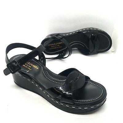 Donald J Pliner Black Leather Wedge Heel 90's Platform Sandals Women's Size 8 (Donald J Pliner Black Sandals)