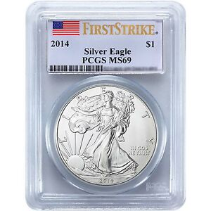 2014 Silver American Eagle MS69 FS PCGS Flag Label