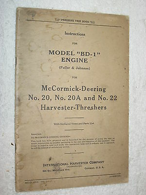 Ih Mccormick-deering Bd-1 Harvester Thresher Engine Care-operating-parts Manual
