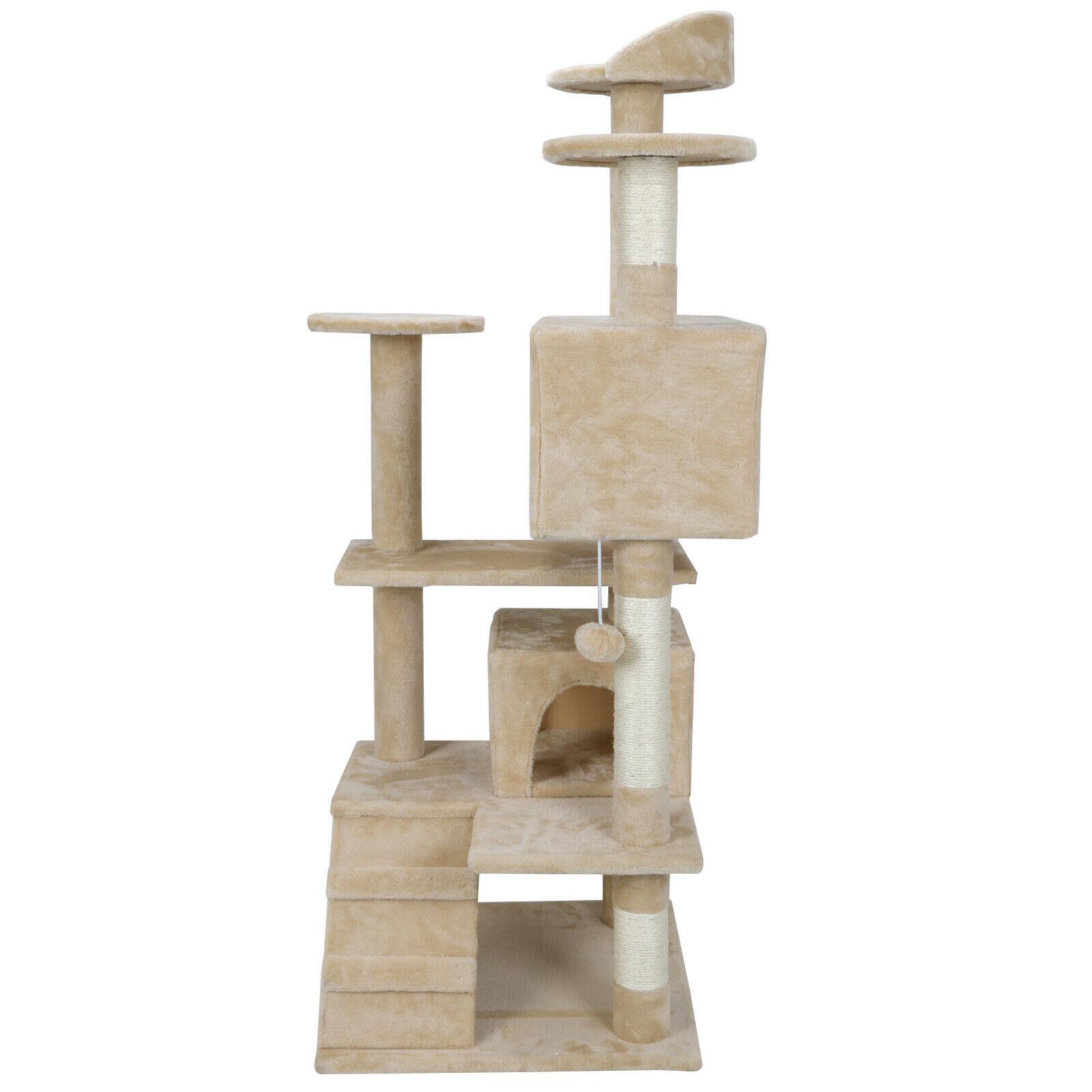 Kitten Cat Tree 53″ House Play Tower Scratcher Beige Condo Post Bed Furniture Cat Supplies