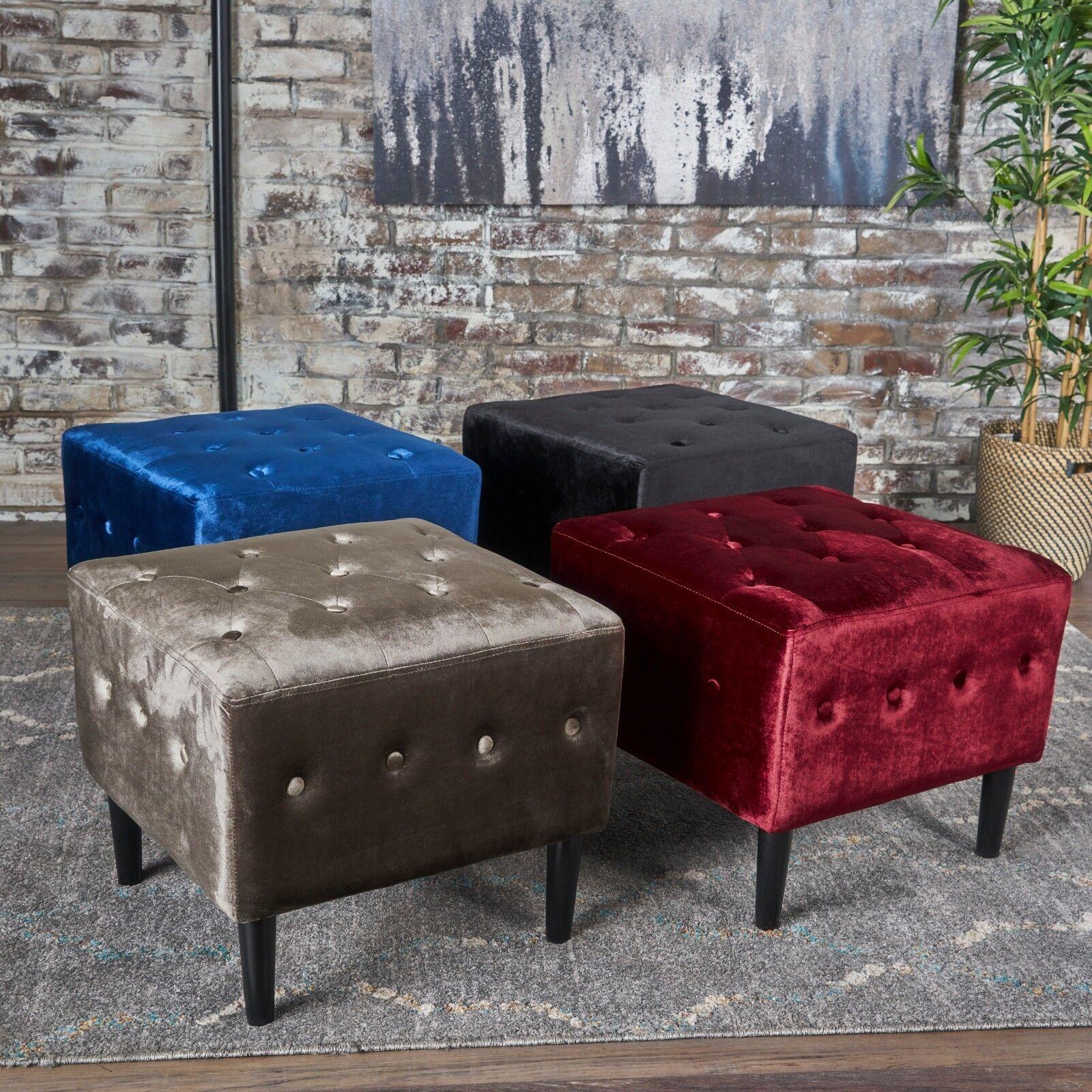 Aleena Glam Button Tufted Velvet Ottoman with Diamond Stitching Furniture