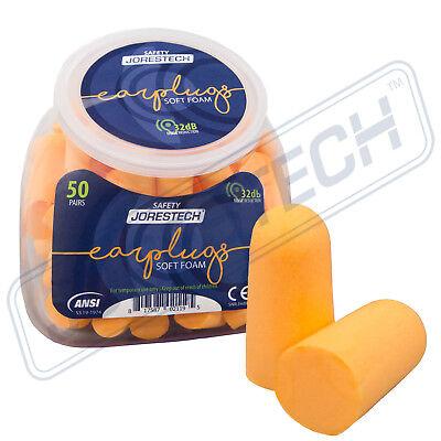 Earplugs 50 Pair Orange Soft Foam Value Individually Nrr 32db Sleep Travel Noise