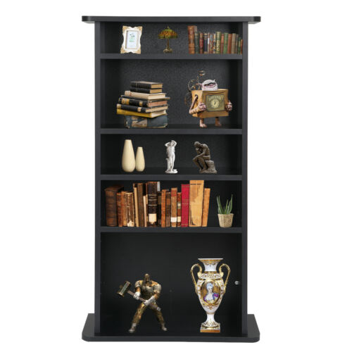 CD Media Storage Cabinet DVD Book Shelf Adjustable 5 Layers