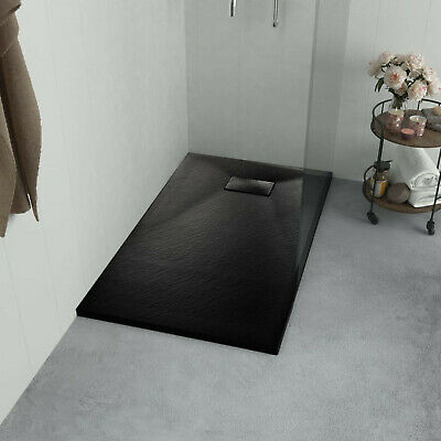 Shower Base Tray Bathroom Non Slip SMC Drain Enclosure Black Low Threshold  Drain Shower Enclosure