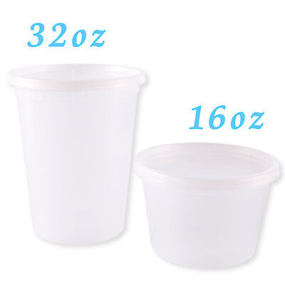 Plastic Soup Food Grade Disposable Containers Take Out w/Lids Microwaveable - Take Out Containers