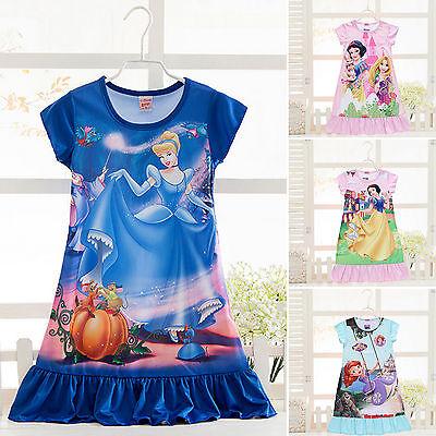 Kinder Mädchen Nachthemd Schlafanzug Pyjama Frozen Prinzessin Kleid Nachtwäsche