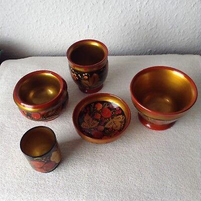Russische Lackmalerei 5 Teile Schalen/Becher Handbemalt rot gold schwarz Früchte