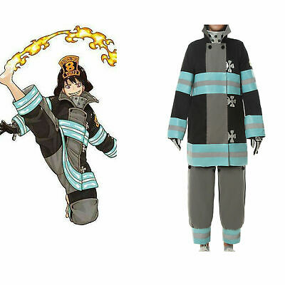 Male Anime Costume (Anime Fire Force Enn Enn For Male Suit Cosplay Costume Uniform Outfit)