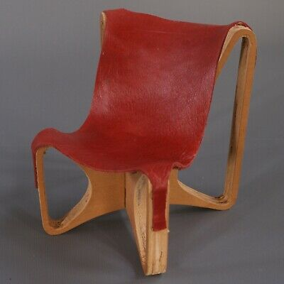 VTG Mid Century Modern MCM Leather Wood Sling Chair Miniature Sample Art Model