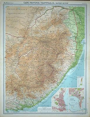 1920 LARGE MAP ~ SOUTH AFRICA EASTERN SECTION PORT ELIZABETH & DURBAN 23