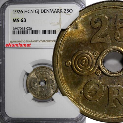 Denmark  Christian X Copper-Nickel 1926 HCN GJ 25 Ore NGC MS63 KM# 823.1