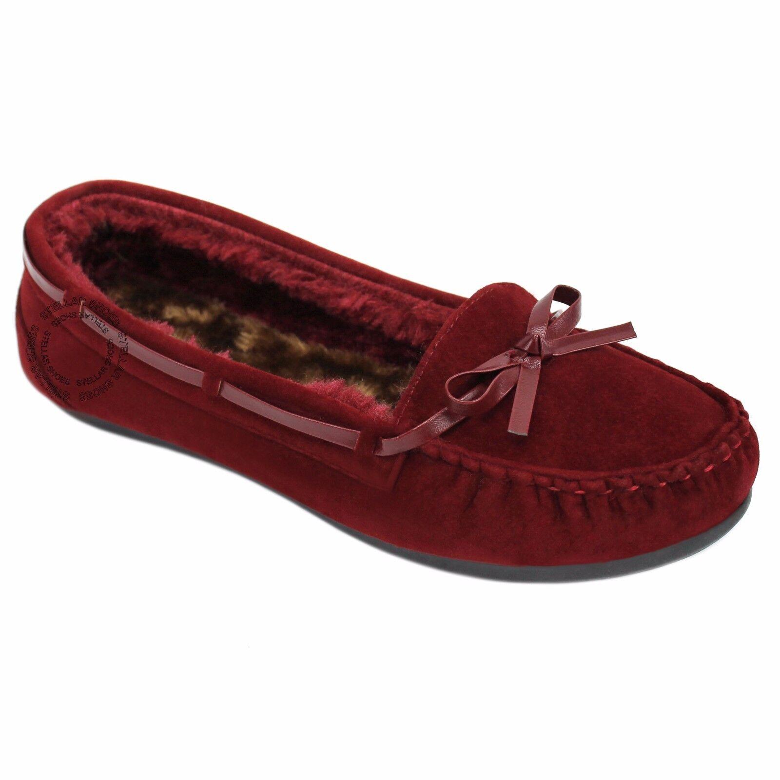 New Moccasins Women Slip On Indoor Outdoor Shoe Slipper Fur Loafer 5-10 Size