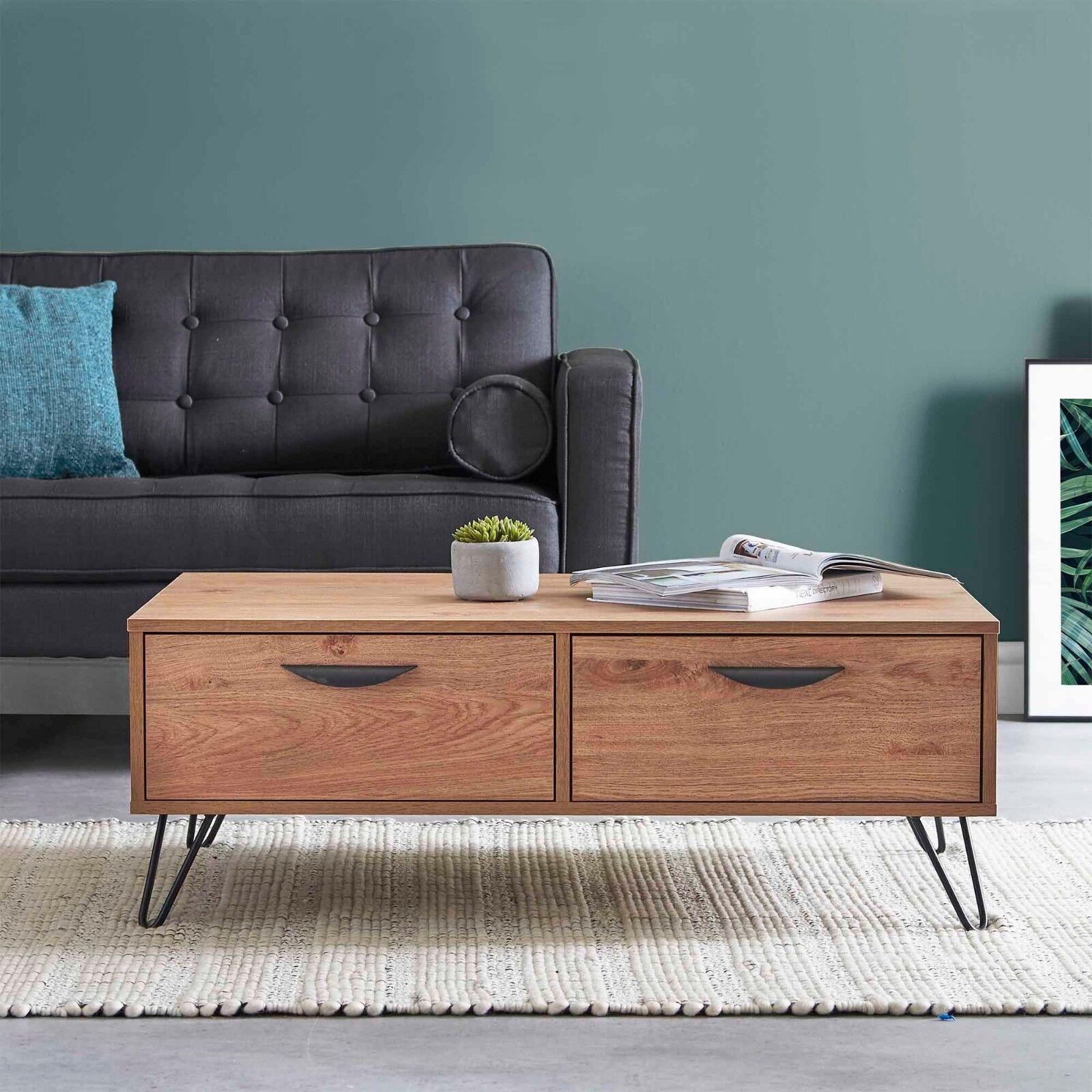 VonHaus Capri Coffee Table 2 Soft Close Drawers Oak-Effect Finish Living Room