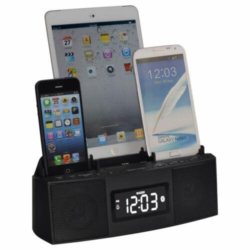 DOK CR28 3 Port Phone Charger, Alarm, Clock, FM Radio | MaxStrata