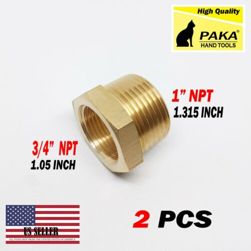 """2 PC- 1"""" Male x 3/4"""" Female NPT Pipe reducer Hex Bushing adapter Brass Fitting"""