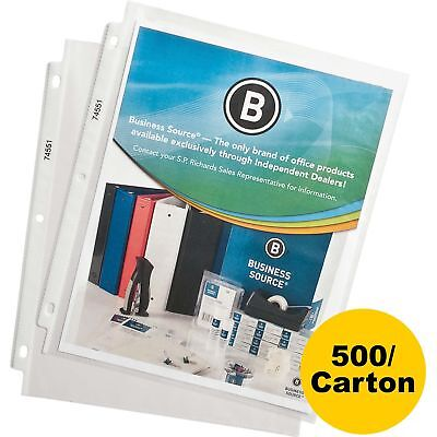 """Business Source Sheet Protectors Top Load 1.9mil 11""""x8-1/2"""" 500/CT Clear 74551CT"""