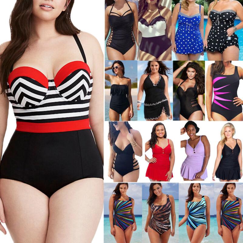 Damen Push Up Monokini Einteiler Bikini Bademode Badeanzug Badekleid Übergröße