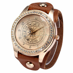 Vogue Rose Gold Crystal Constellations Dial Leather Strap Lady Women Wrist Watch