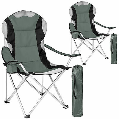 2x Heavy duty padded folding camping directors chair with cup holder gray