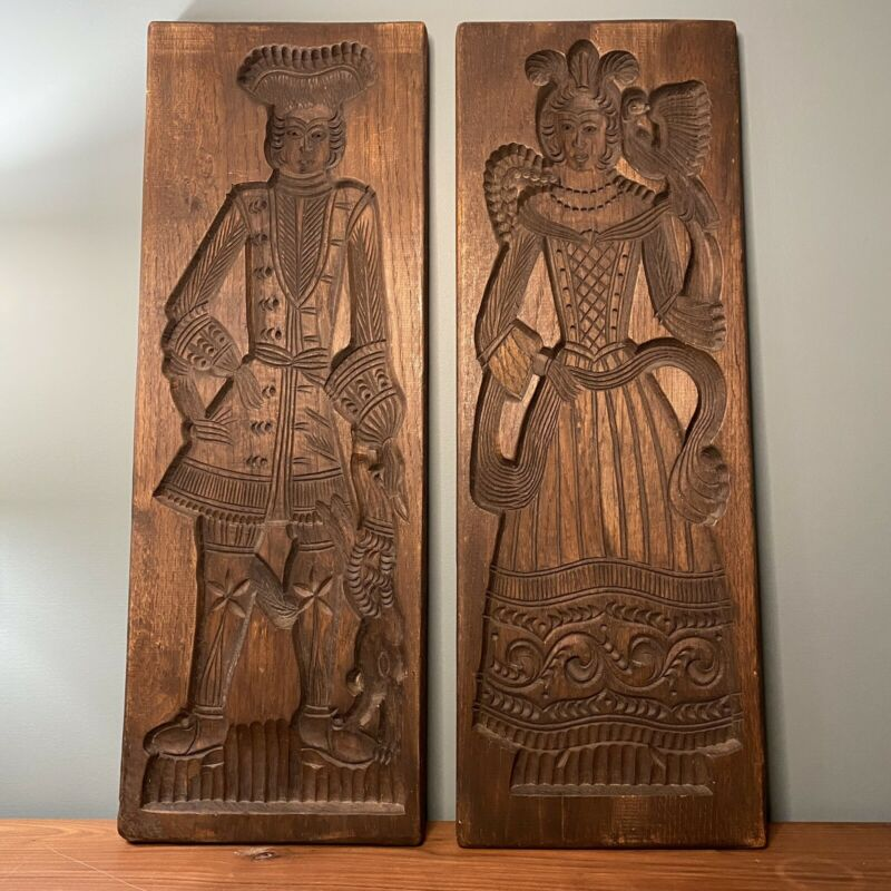"Antique Wooden Mold Wood Hand Carved Belgium Chocolate Mold Press 9-3/4""x27-1/2"""