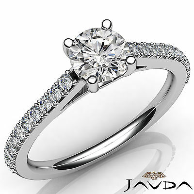 French V Pave Round Diamond Engagement Cathedral Ring GIA Certified F VS1 1.02Ct