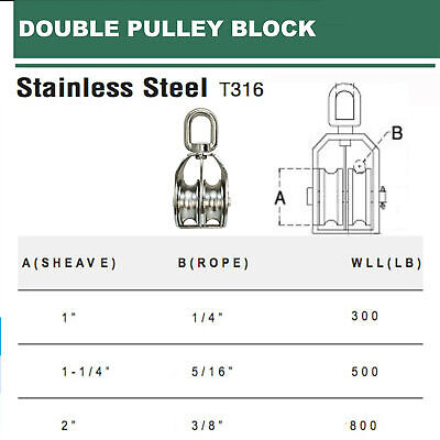 Stainless Steel 316 Double Pulley Block For Wire Rope Chain 1 1-14 2
