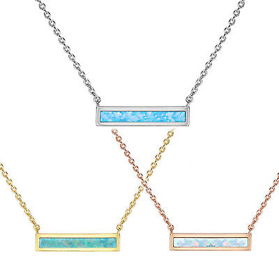 Brilliant Pave Organic Oval Opal Necklace Petite Bar Charm Pop Delicate