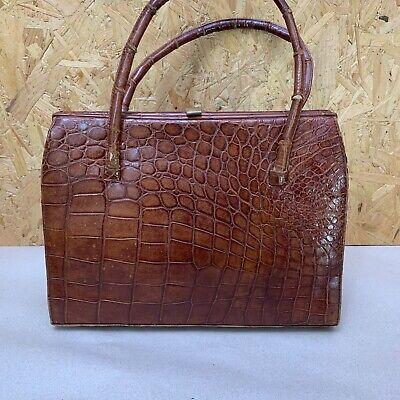 Vintage Croc Crocodile Leather Handbag - 28.5 x 20 x 7cm