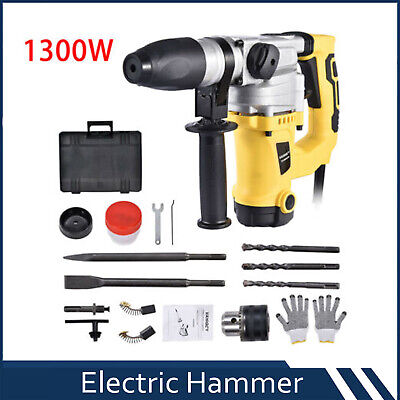 1-12 Electric Demolition Jack Hammer Concrete Breaker Punch Chisel Bit 1300w
