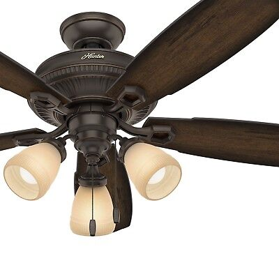 Hunter 52 in. Traditional Ceiling Fan in Onyx Bengal with LED Light Kit