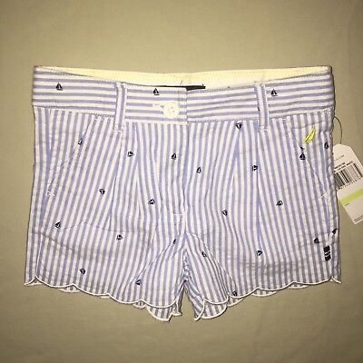 Girls Nautica Sailboat Print Shorts Size 4 4t Blue / White Nwt