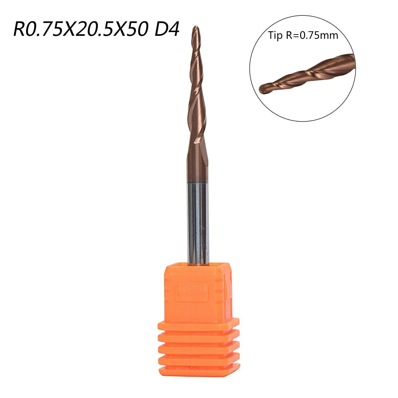 3Pcs R0.5MM D4 Carbide Tapered End Mills Ball Nose 2 Flutes HRC55 CNC Cut Tools