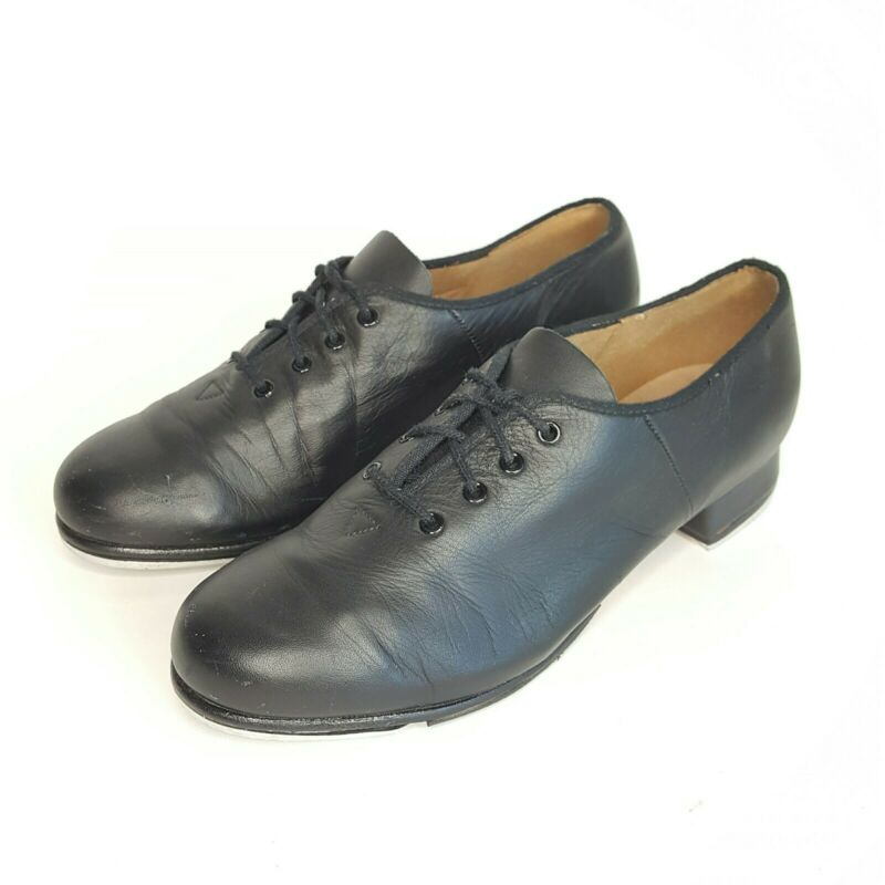 Bloch Ladies Jazz Tap Leather Tap Shoes Black Lace Up Techno Tap #1T Size 8.5